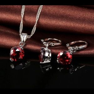 Jewelry - Sterling Silver Round Red Austrian Crystal Set